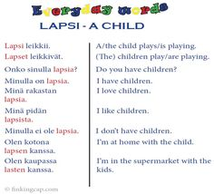 A few useful sentences to help you use the word lapsi, 'child' Learn Finnish, Finnish Language, Finnish Words, Finland Travel, World Languages, My Passion, Family History, Kids Playing, Sentences