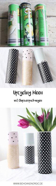 DIY Upcycling Ideen mit Chipsverpackungen. Vasen Upcycling. DIY Idee für Deko. Aufbewahrungsdosen einfach selber machen. Kreative Bastelidee für Geschenke und Deko.