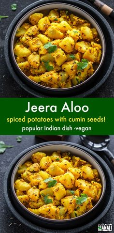 The amazing combination and aroma of potatoes and cumin seeds makes Jeera Aloo one of the most popular Indian dishes! It's vegan and easy to make using handful of ingredients! via food recipes Jeera Aloo Vegan Indian Recipes, Healthy Recipes, Cooking Recipes, Ethnic Recipes, Indian Potato Recipes, Indian Vegetarian Recipes, Indian Potato Curry, Vegetarian Meals, Cooking Tools