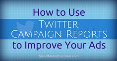 Are you using Twitter advertising to promote your business? Would you like to improve your advertising on Twitter? Twitter's new campaign reports help you understand how users engage with your paid content. In this article you'll discover how to navigate the Twitter Ads reporting platform to obtain quality insights about your target audience. Why Use…