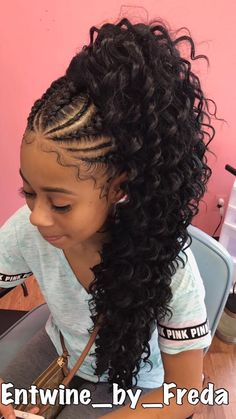 Popular braided ponytail hairstyles for black hair High Curly Ponytail, Braided Ponytail, Feed In Braids Ponytail, Braids And Curls, Braided Locs, Ponytail Girl, Updo Curly, Fancy Braids, Loose Braids