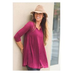 The plum-wine-magenta color of this top is so dreamy, it's cheering us up on this dreary day! Pair with our Liquid leather leggings a few posts back for ultimate comfort chic  Wine slub-knit lightweight sweater Price $34.00, $2.00 Shipping Options: Small(2/4), Medium(6/8), Large(10/12)  Notched v-neck, 3/4 sleeve and slight sheering at elbows plus the hot slub-look make this trapeze-cut tunic a must! Slightly fitted through arms.  To purchase, comment SOLD SIZE EMAIL