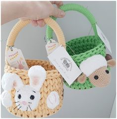 Happy Easter, Easter Bunny, Crochet Baskets, Easter Crochet, Esty, Easter Baskets, Bandana, Straw Bag, Shops