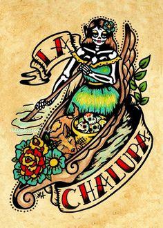 Tattoo Old School Skull Sugar Etsy 19 Ideas Los Muertos Tattoo, Loteria Cards, Loteria Shirts, Chicano Art, Wow Art, Mexican Folk Art, Mexican Artwork, Flash Art, Day Of The Dead