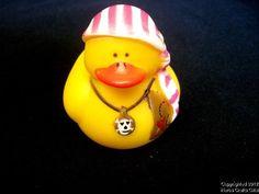 "Rubber Duck, GIRL PIRATE, Stripe Bandana, Skull Crossbones, Duckie, NEW, 2"""