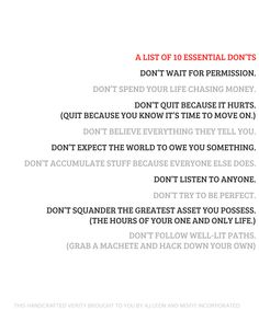 A List of 10 Essential Don'ts