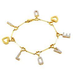 Gold and Diamond I LOVE U Bracelet |