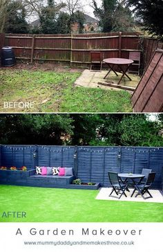 artificial_grass_garden_makeover_before_after - Annelies Schutten Tuin ideeën Backyard Seating, Backyard Patio Designs, Small Backyard Landscaping, Backyard Projects, Landscaping Ideas, Backyard Ideas For Small Yards, Fenced In Backyard Ideas, Inexpensive Backyard Ideas, Back Yard Patio Ideas