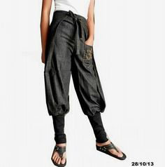 No.4- Ninja Wrap Pant, Cotton Denim Chambray Trouser Ohm Embroidery Pockets Unisex, Light Weight Jeans.