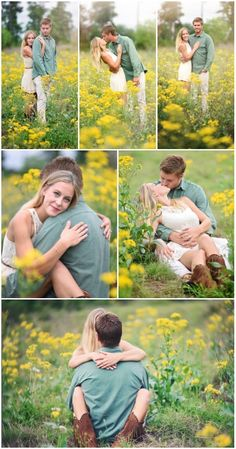 Engagement Pictures in a field of flowers.  Couples photography poses #hollyyoungphotography