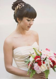 ADORE her hair jewels! | Amsale wedding dress | photo by The Weaver House | design by Bash, Please