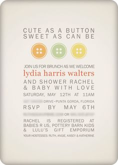cute as a button invitation