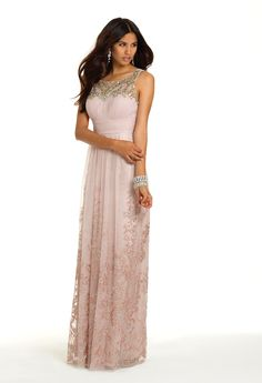 Camille La Vie Glitter Illusion Neck Long Prom Dress