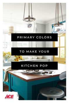 Vibrant primary colored Benjamin Moore paint ideas for the kitchen. Home Decor Kitchen, Home Kitchens, Diy Home Decor, Kitchen Design, Benjamin Moore, Home Office, Layout, Kitchen Colors, House Colors