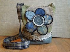 CROSSBODY BAG with FLAP, Shabby Chic Upcycled Sling Bag - Blue, Green, Ivory, Stripes Hip Bag, Boho Slouch Purse, Floral Applique Hobo Bag on Etsy, $58.00