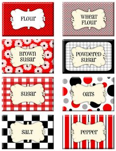 Retro in Red Printable Pantry Labels Printable Recipe Cards, Printable Labels, Free Printables, Labels Free, Kitchen Labels, Pantry Labels, Spice Labels, Canning Labels, Canning Recipes