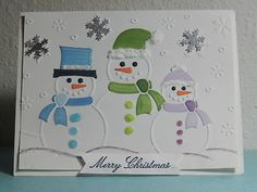 snowman card use foam board to make snowmen and snowflakes to give dimension. embroidery flakes or hats or use glitter to make them stand out