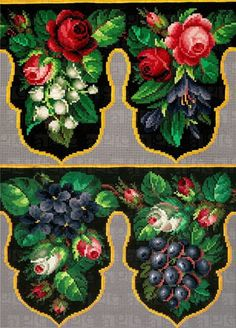 After the publication of the post: the Petit Point - elegant embroidery handmade many want to sew their own hands something simil. Cross Stitch Designs, Cross Stitch Patterns, Beaded Embroidery, Embroidery Patterns, Chart Design, Needlepoint Patterns, Beaded Purses, Le Point, Vintage Flowers
