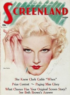 Another great picture of Jean Harlow on an old Movie mag