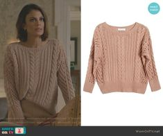 Cristal's pink cable knit sweater on Dynasty. Outfit Details: https://wornontv.net/82793/ #Dynasty