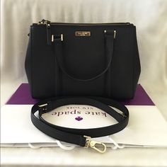 """⚜Kate Spade⚜Newbury Lane Loden Small ✨Brand New With Tag and Bag, Guarantee Authentic✨Also available in WHITE•let me know if interested.  $155 + FREE SHIPPING on MERCARY or ️AY️AL•price is firm•  Size: Small Details: Satchel with snap closure and an adjustable, removable strap Dual interior slide pockets, two zipper, compartments, and interior zipper pocket Gold Kate Spade New York signature 8.2x10.9x4.7  drop length 4.3"""" handle  14 karat light gold hardware kate spade Bags Satchels"""