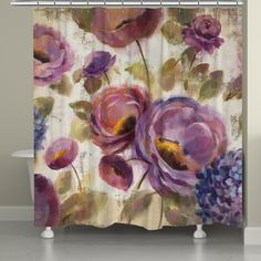 Laural Home Blue and Purple Florals Shower Curtain (71-inch x 74-inch) | Overstock.com Shopping - The Best Deals on Shower Curtains