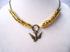 Golden Wheat & Bronze Sparrow Necklace by ViperCoraraDesigns, $18.00
