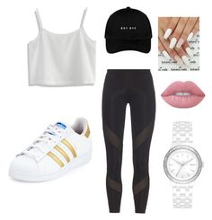 """""""Rocking My Lazy Way The Adidas Way."""" by becca081899 on Polyvore featuring Chicwish, adidas, DKNY and Lime Crime"""
