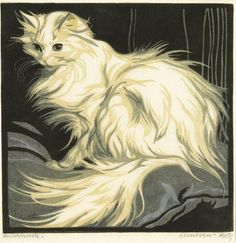 Angora Cat, 1925 by Norbertine Bresslern-Roth on Curiator, the world's biggest collaborative art collection. Turkish Angora Cat, Angora Cats, I Love Cats, Crazy Cats, Cool Cats, White Cats, Cat Drawing, Beautiful Cats, Cat Art