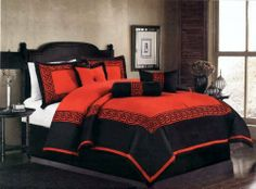 """7 Pcs Embroidery Oriental Square Comforter Set Bed In A Bag Queen Red/Black by AHF. $79.35. 2 Pcs Standard Pillow Shams (20"""" x 28""""). 1 Pc Square Cushion , 1 Pc Breakfast Pillow. 1 Pc Queen Size Comforter (86"""" x 86""""). 1 Pc Neckroll. 1 Pc Bedskirt (60"""" x 80"""" + 14"""" Drop). 7 Pcs Luxury Comforter Set  This is a very attractive comforter set.  This comforter set will give your room a new look!       Style#: Square     Condition: Brand New     Size: Queen     Design: Oriental..."""