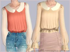 "ts3history: ""simplicaz: "" A new blouse! I thought a new design would be nice because the other one was quite popular. I personally like this design a lot more. I made 2 versions, one with the lace..."