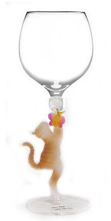 Cat with Butterfly Hand Blown Wine Glass from Yurana Designs - W199 by Yurana Designs. $35.00. Hand Blown Wine Glass with Cat  Blown into Stem. Great Wine Lover Gift  -  Hand Wash Only. We have a matching stopper. We have many Yurana Glasses to choose from, and they are all unique and cool. This is not likely to be a gift they already have!. Our Hand Crafted Blown Glass Wine Glasses make great gifts. They are spectacular designs, and priced at about the same as other Fine Wine Gl...