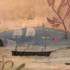 Kolene Spicher: Rufus Porter Mural in Connecticut by Pennsylvania artist Kolene Spicher Primitive Painting, Primitive Folk Art, Primitive Decor, Seascape Paintings, Mural Painting, Ship Paintings, Early American, American Art, Mural Wall Art