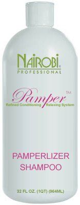 Nairobi Pamperlizer Shampoo (32 oz. / liter) by Nairobi. $20.00. Nairobi Pamperlizer Shampoo This rich conditioning shampoo is designed to neutralize hair's alkalinity and helps restore a normal pH level. Contains highly buffered balancing agents, plus a chelating agent and conditioners to effectively remove oily residue and mineral deposits. Releases a pampering botanical calming fragrance blend for a pleasant and alluring wellness experience.