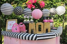 Fun flamingo Mother's Day party! See more party planning ideas at CatchMyParty.com!