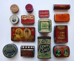 vintage antique tins via brown dress with white dots
