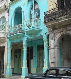 Before and After Restored Home Art Nouveau in Havana, Cuba---would look sooo good in Galveston!  on the strand of course....