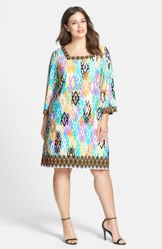 London Times Placed Print Matte Jersey Shift Dress (Plus Size) | Nordstrom