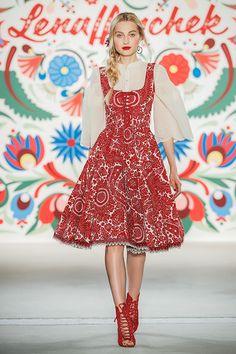 "Lena Hoschek SS18 ""KISS ME PIROSCHKA"" Runway ""Nikoletta Dress, Balkan Blouse ivory"""