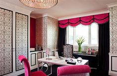 pink and black office Love this for my home office. I may just do this!!