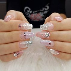 35 Classy Wedding Nail Art Designs For Brides - Bebeautylife The Effective Pictures We Offer You About wedding nails for bride floral A quality picture can tell you many things. You can find the most Sexy Nail Art, Sexy Nails, Glam Nails, Bridal Nails Designs, Bridal Nail Art, Nail Art Designs, Cute Acrylic Nails, Cute Nails, Pretty Nails