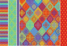 Bright Pattern design coordinated by designer Linda Webb. Damask, stripe, small print, floral, surface, fabric