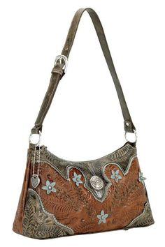 American West Desert Wildflower Antique Brown/Blue Shoulder Bag