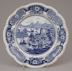This earthenware dish from Shelton, England, bears a transferware pattern with a Chinese scene