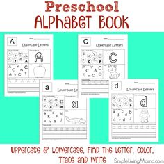 Introduce your preschooler or kindergartner to the alphabet with this fun preschool alphabet book. This book includes worksheets for all 26 letters of the alphabet, plus both uppercase and lowercase letters. Let your child complete two pages per week while learning the letters of the alphabet. With these pages your child will learn to: Identify letters Work on letter recognition Work on colors and coloring in the lines Learn beginning sounds Work on correct letter formation Pleas...