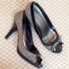 Grey & Black peep toe heels Fioni black patent leather heels with grey fabric - peep toe with little black bow. Great for work or going out! Preloved FIONI Clothing Shoes Heels