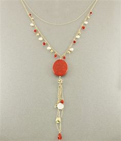 $24 Long Layered Necklace - 30 inch - Gold & Red