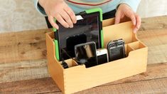 Simple Upcycle Idea! Make your own charging station out of an old desk organizer.