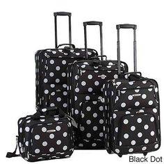 4-piece Expandable Luggage Set Rockland Polka Dot  #Rockland