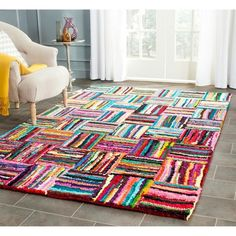 Safavieh Nantucket Collection Handmade Abstract Multicolored Cotton Area Rug 8 x 10 -- You can get additional details at the image link. Nantucket, Rug Size Guide, Hand Tufted Rugs, Geometric Rug, Online Home Decor Stores, Online Shopping, Rug Hooking, Blue Area Rugs, Colorful Rugs